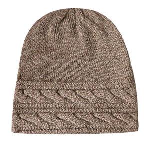 Knit Hat Brown Beige Grey