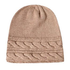 Knit Hat in Camel Beige Natural Mix