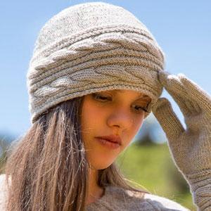 Knit Alpaca Hat Camel Natural Grey