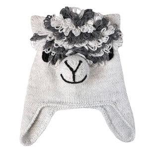 Light Grey Alpaca Knit Hat for Kids.