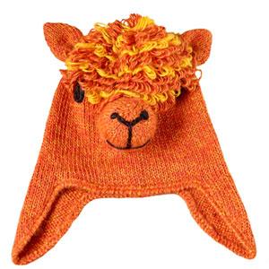 Orange Alpaca Knit Hat for Kids.