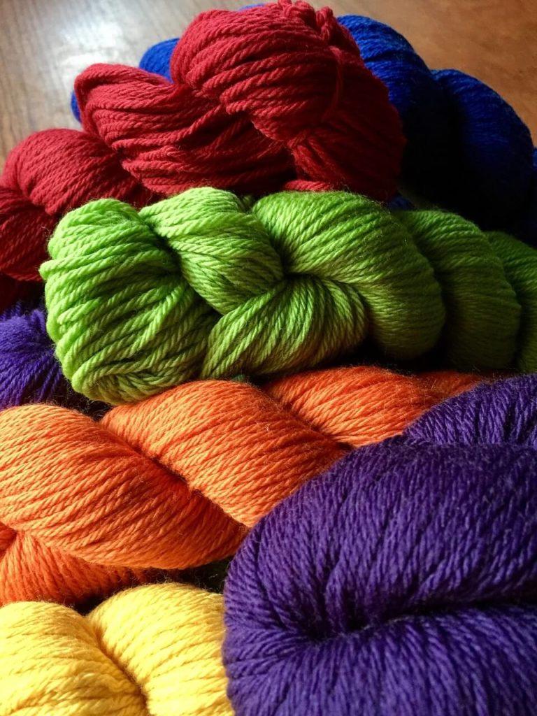 Multiple Skeins of Colored Yarn