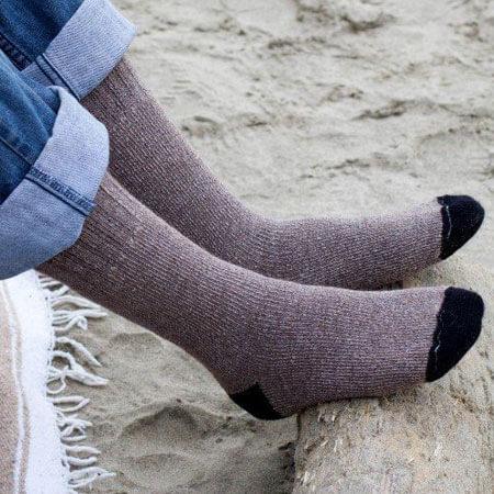 Outdoor Adventure Alpaca Socks in Cocoa Brown Side View