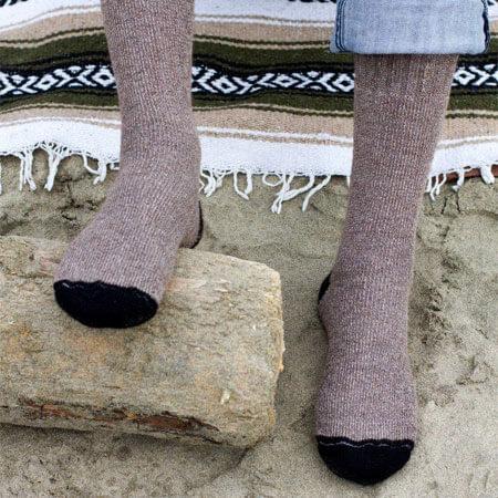 Outdoor Adventure Alpaca Socks in Cocoa Brown