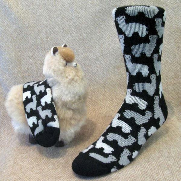 Black Alpaca Print Socks