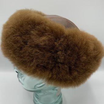 Dark Fawn Alpaca Fur and Leather Hat