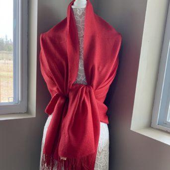 Red Pashmina Shawl in Alpaca and Silk