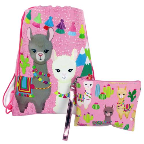 Llama Drawstring Backpack With Matching Wristlet - Pink
