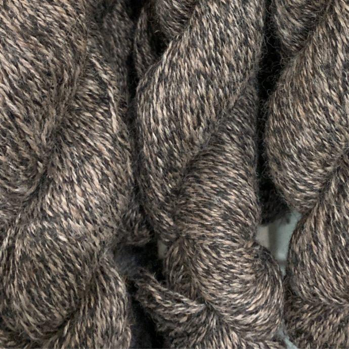 100% Alpaca Yarn in Rose Grey and Black Tweed
