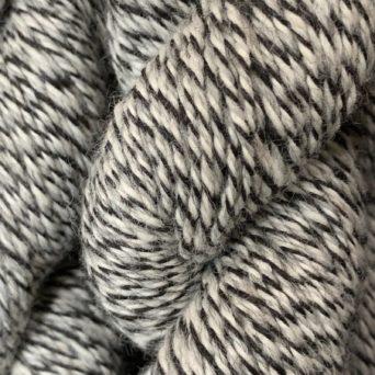 100% Alpaca Yarn Black, White, and Silver Grey Tweed
