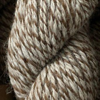 100% Alpaca Yarn in Rose Grey, Brown, and White Tweed