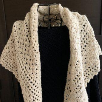 Crocheted Shawl in 100% Beige Alpaca