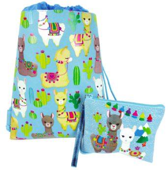 Llama Drawstring Backpack With Matching Wristlet - Blue
