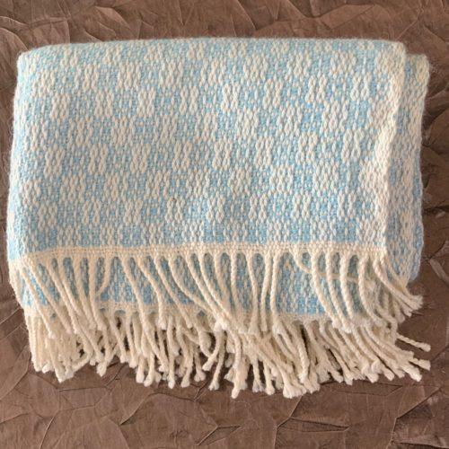 Light Blue and White Alpaca Baby Blanket