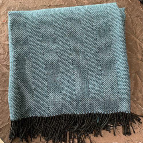 Blue Herringbone Alpaca Throw