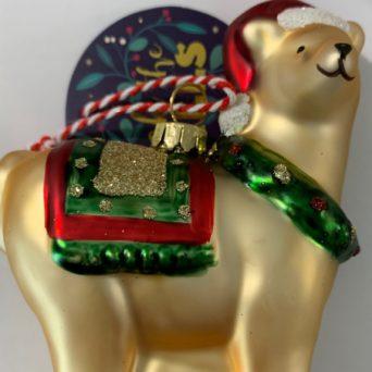 Llamapalooza Glass Christmas Ornament