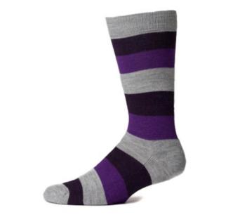 EA Purple Striped Crew Socks - Large