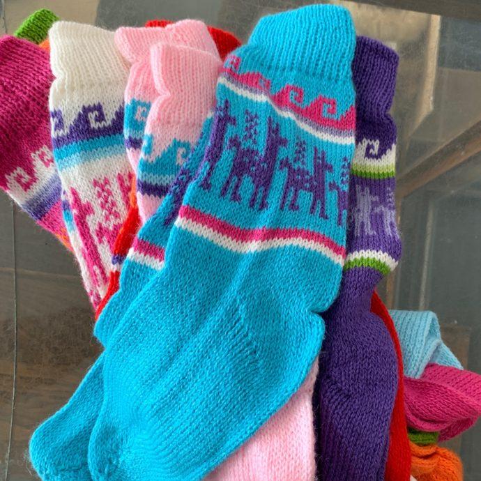 Colorful Alpaca Print Long Socks - Medium