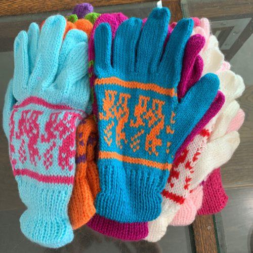 Alpaca Print Knit Gloves - Pastel Colors