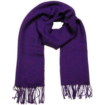 100% Baby Alpaca Handwoven Purple Scarf