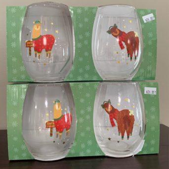 Alpaca Christmas Stemless Wine Glasses - Set of 2
