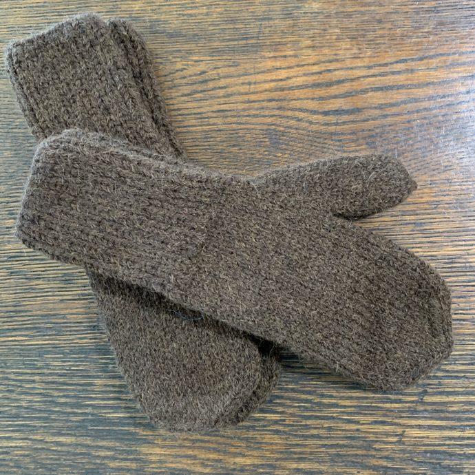 Men's Brown Knit Alpaca Mittens