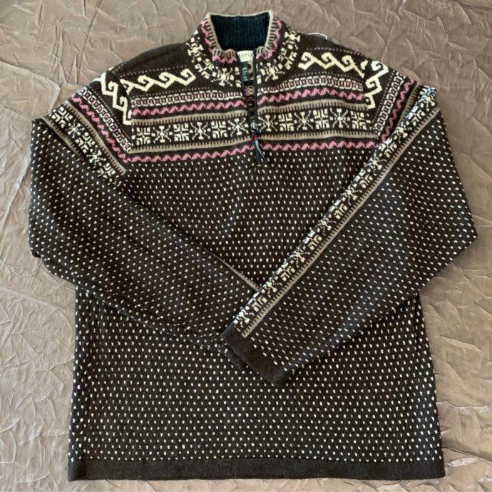 Caraz Half Zip Sweater in Espresso and Pink