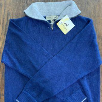 Blue Zippered Sweater - 100% Alpaca