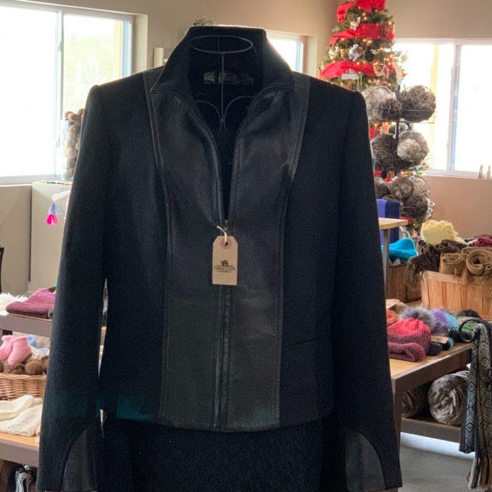 Women's Baby Alpaca and Leather Coat in Black