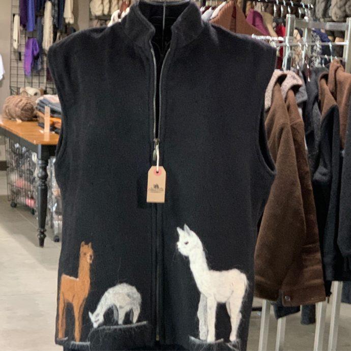 Black Alpaca Vest With Felted Crias