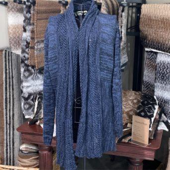 Blue and Black Crochet Sweater in 100% Alpaca