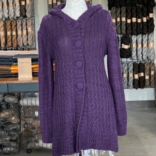 Sensations Hooded Alpaca Blend Sweater in Purple