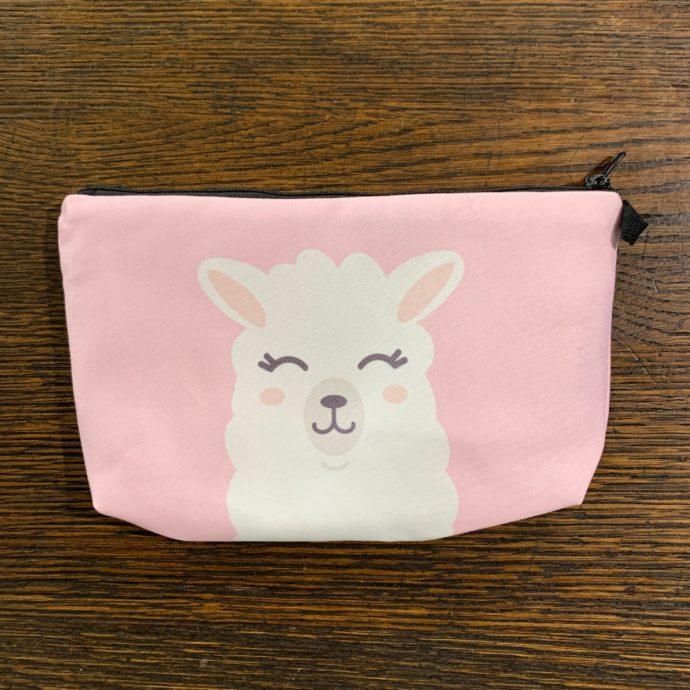 Pink and White Alpaca Makeup Bag