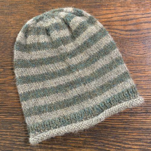 100% Alpaca Knit Hat in Stripped Gauntlet in Green/Grey