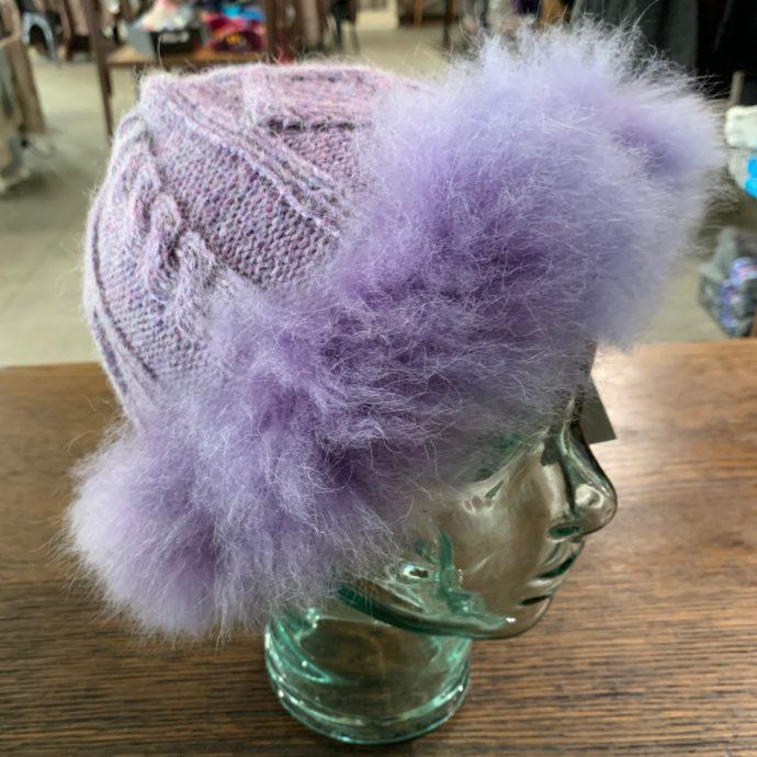 Purple Diamond Cable Knit Hat with Fur Trim in 100% Alpaca