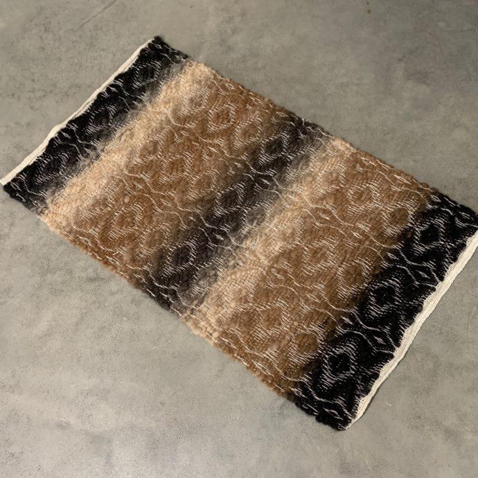 24x34 Diamond Woven Alpaca Rug - Black Brown Mix With White Trim