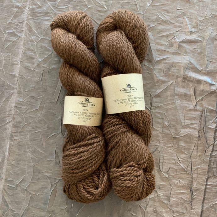 Reba Medium Brown Alpaca Yarn in 2 Ply Worsted