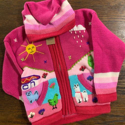 Pink Child's Sweater With Alpaca Scenes