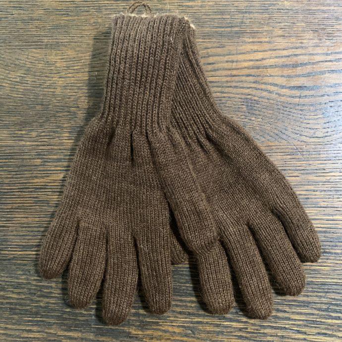 Reversible Knit Gloves in 100% Alpaca in Light/Dark Brown Medium