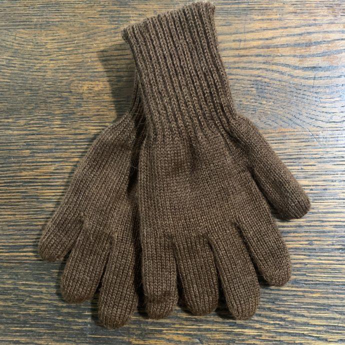 Reversible Knit Gloves in 100% Alpaca in Light and Dark Brown Medium