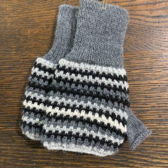 Grey Tricolor Fingerless Gloves in 50% Alpaca 50% Acrylic