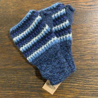Blue Tricolor Fingerless Gloves in 50% Alpaca 50% Acrylic
