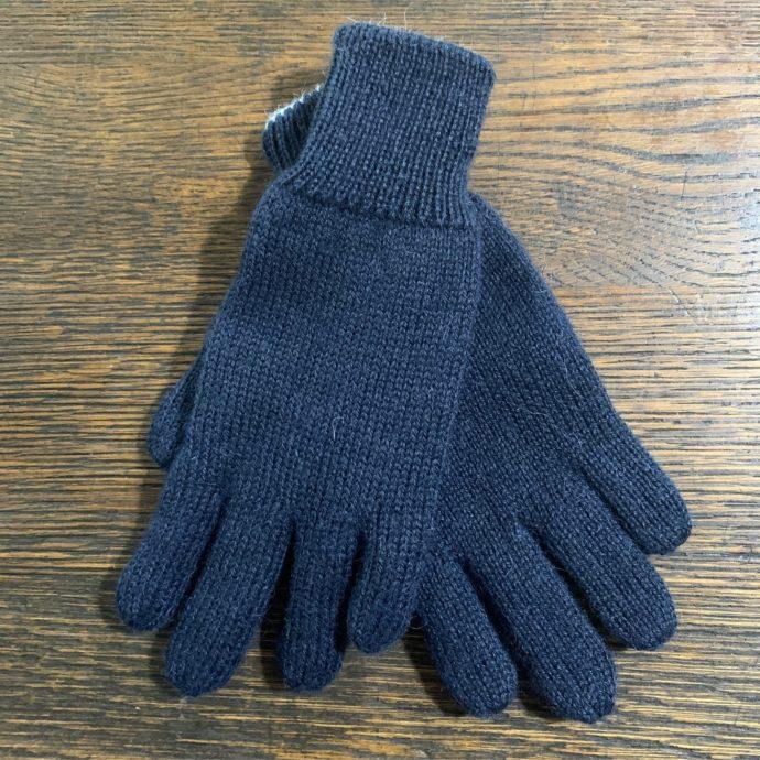 Reversible Knit Alpaca Gloves in Small Navy/Grey
