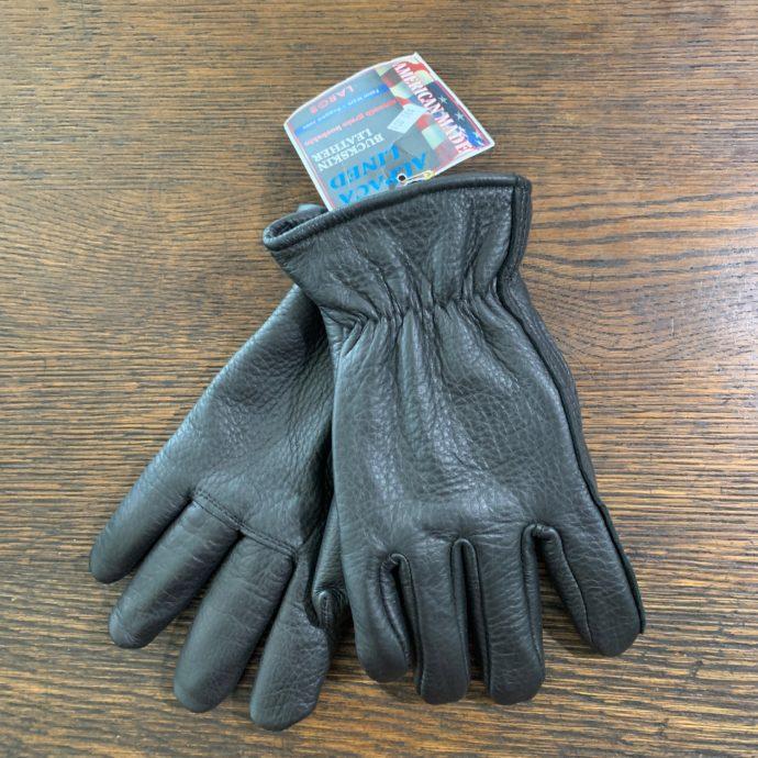 Black Buckskin Leather Gloves With Alpaca Lining