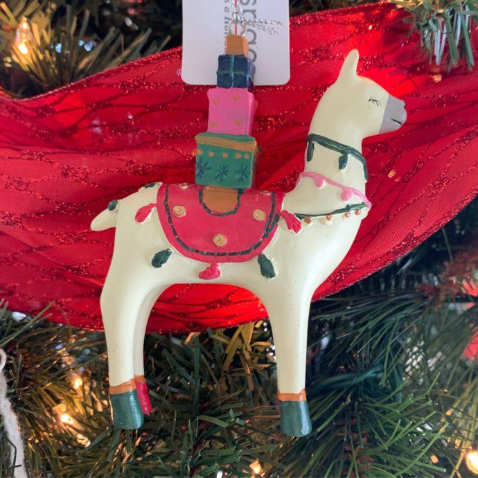 Red and Green Llama Christmas Ornament