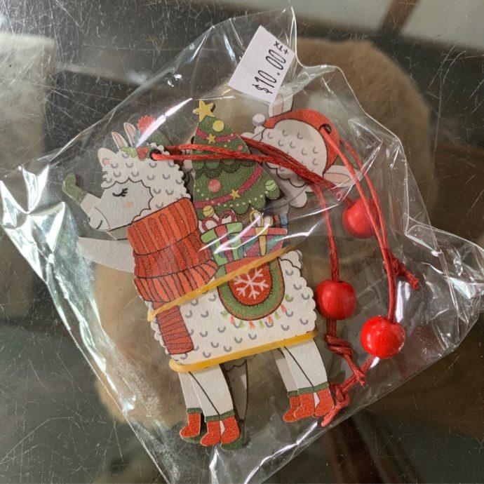 3 Piece Set of Wooden Alpaca Christmas Ornaments
