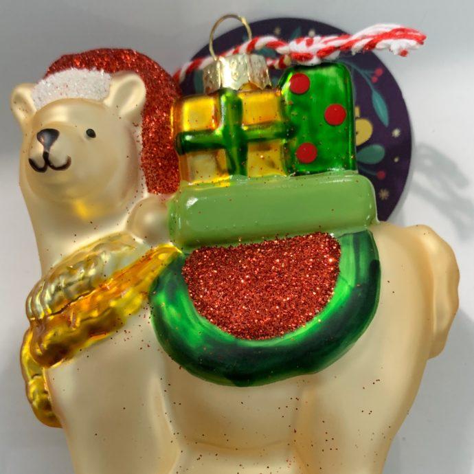 Glass Alpaca Christmas Ornament