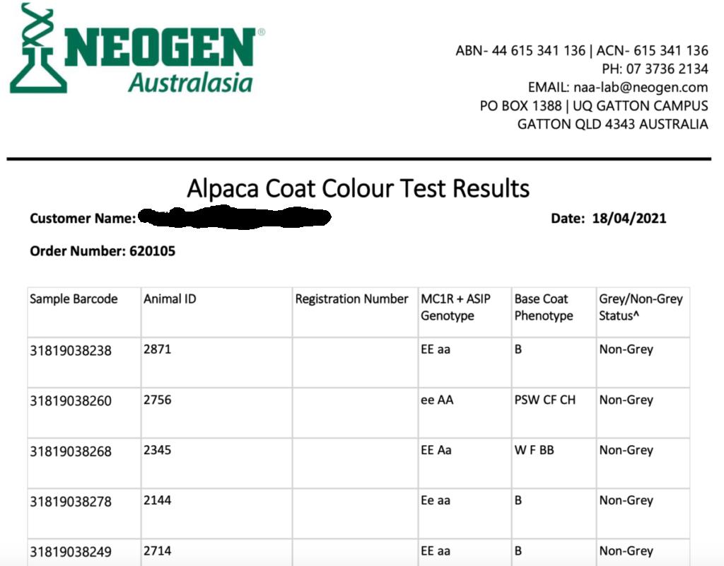 NeoGen Alpaca Coat Color Test Results Example