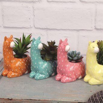 Small Sitting Llama Ceramic Planter