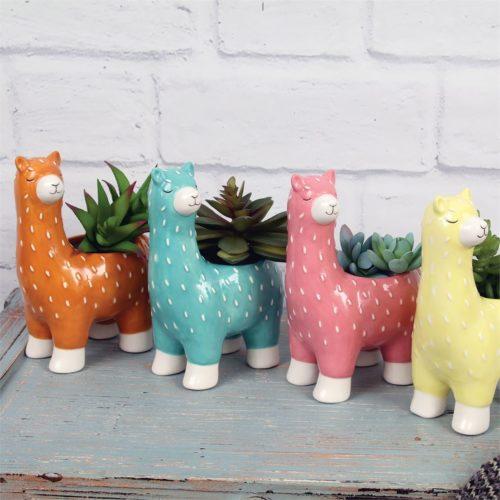 Small Standing Llama Ceramic Planter